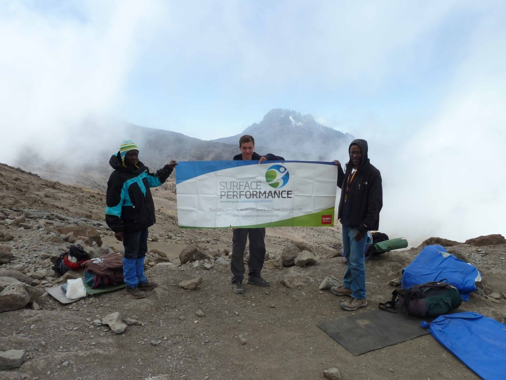 Louis Morgan at the top of Kilimanjaro