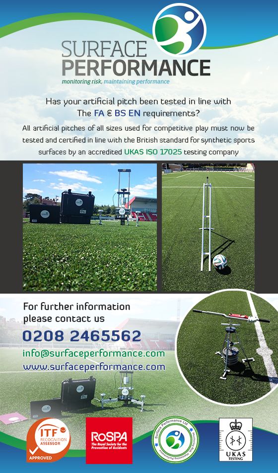 F.A 3G synthetic pitch testing laboratory