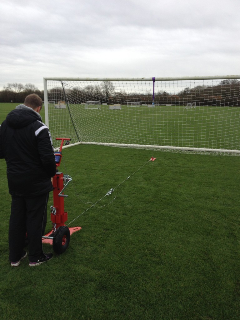 Goal post testing risk assessment to the strength requirements of BS EN 748.