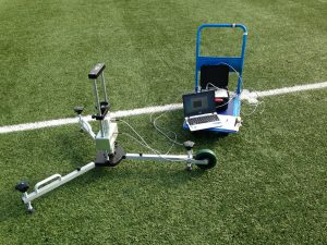 The FA 3G Pitch Register Testing by Surface Performance Ltd. FIFA shock absorption testing.